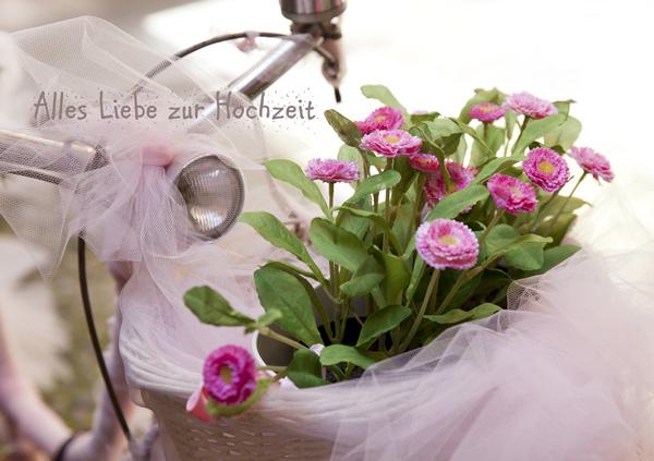 Glückwunschkarte zur Hochzeit, mit Fahrrad, velo und Blumen