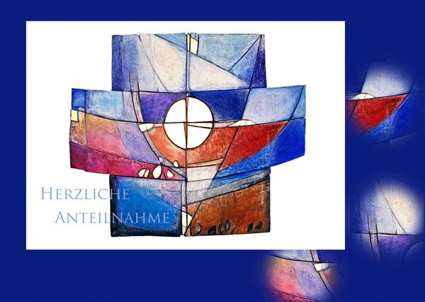 Trauerkarte TK 110 mit Text Herzliche Anteilnahme, modernes abstraktes Kreuz in verschiedenen Blautönen