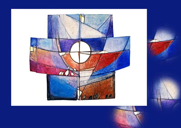 Trauerkarte TK 111 modernes abstraktes Kreuz in verschiedenen Blautönen