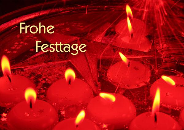 Frohe Festtage, rote Kerzen