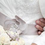 Hochzeit Barbara und Tobias, Detailansicht Brautkleid