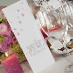 Hochzeit Christina & Marcel, Tischdekoration und Menükarte
