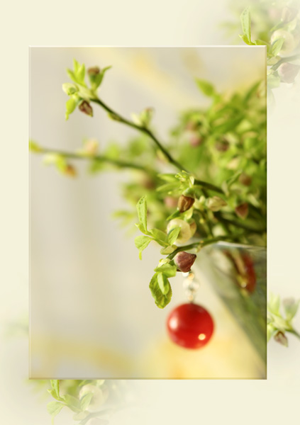 Grüne Zweige mit roter Kugel im Rahmen