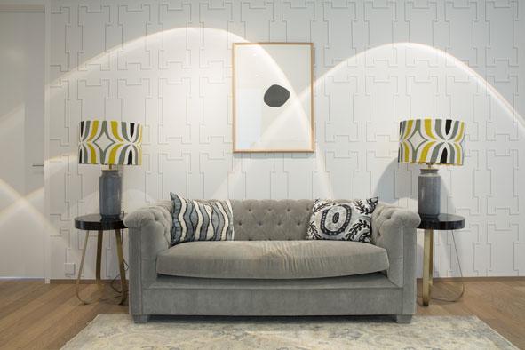 Aussergewöhnliche Tapete in Wohnzimmer