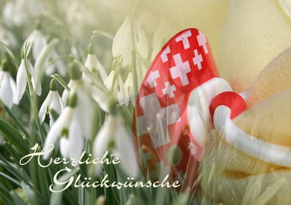 """Zur Geburt, Schneeglöckli mit Nuschi und Nuggi, Text """"Herzliche Glückwünsche"""""""
