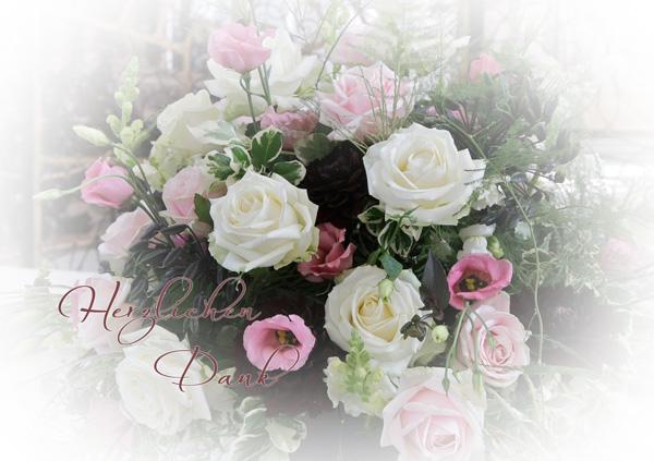 """Bouquet mit rosa und weissen Rosen, Text """"Herzlichen Dank"""""""