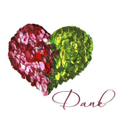 """Herz in rot-grün auf weiss,, Text """"Dank"""""""