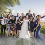 Hochzeit Monika & Roger, aufgestellte Freunde