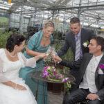 Hochzeit Nicole & Matthias, anstossen mit Trauzeugen