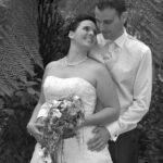 Hochzeit Nicole & Matthias , unter Palmen, schwarz-weiss Bild